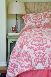 Damask Pink Twin 2 Pcs Set :           Lovely damask print on ivory background, reverses to to really nice coral solid coral pink. Will add design to any room.