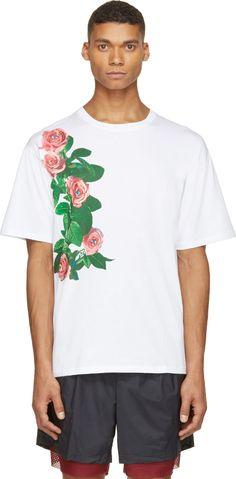 MSGM - White Rose Print Toiletpaper Edition T-Shirt