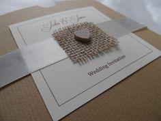 Handmade Luxury Wooden Heart and Hessian Wedding Invitation in Box. £3.95, via Etsy.