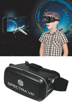 Virtual reality goggles! Load your smartphone with free VR apps, then snap into headset, put on goggles, and you're transported as images, sounds & movement surrounds you. A fully immersive experience as your viewpoint adjusts to the movement of you head and body.