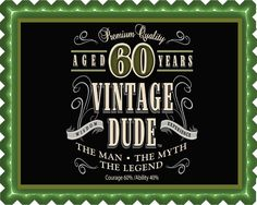 Vintage Dude 60th Edible Birthday Cake Topper OR Cupcake Topper, Decor - Edible Prints On Cake (Edible Cake &Cupcake Topper)