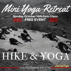 My favorite time of year ...Cooler weather means time to get outside to exercise! If you haven't experienced hiking and yoga together come join my 1st Mini Yoga Retreat of the season! Date: Sunday Oct. 16 2016 Where: Shaw Butte or also known as North Mountain in Phx Az Cost: FREE Please read below for full details.  Difficulty: Moderate Distance Round Trip: 4 miles Time Round Trip: 4-6 hours Elevation Change: 800 feet We will be doing yoga on a concrete foundation left from an early 1960s…