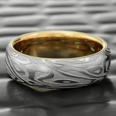 Domed Damascus Steel 7mm Wide Wedding Ring with 14K Yellow Gold Liner  |  ORGANIC WOOD