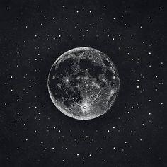 Silver Moon Print // Lunar Print // Moon Poster // Moon Art // Moon Illustration // Sacred Geometry // Black and White Drawing // Stippling // Dot Drawing // Universe // Cosmos