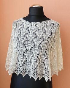 Natural white, creamy white hand knitted lace poncho from wool cashmere blend with Haapsalu shawl pattern, lacy capelet CUSTOM MADE