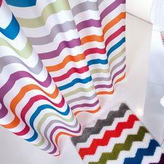 Rideau de douche en polyester chevrons multi 180x200cm ZIGZAG