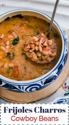 Frijoles Charros (Cowboy Beans) + Video - Muy Bueno Cookbook Frijoles Charros (Cowboy Beans) Mexican hand painted soup tureen with ladle scooping frijoles charr Mexican Beans Recipe, Mexican Food Recipes, Healthy Recipes, Mexican Pinto Beans, Mexican Cooking, Latin Beans Recipe, Charo Beans Recipe, Side Dishes, Salads