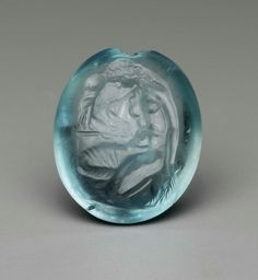 Hellenistic aquamarine intaglio of Kassandra kneeling by the Palladion, or the statue of Athena at Troy. The intaglio dates to the century BCE and is currently located at MFA Boston. Roman Jewelry, Greek Jewelry, Historical Artifacts, Ancient Artifacts, Ancient Jewelry, Antique Jewelry, Hellenistic Period, Bohemia Jewelry, Minoan