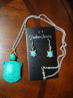 Turquoise turtle jewelry set. $23.99