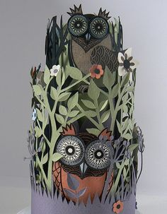 owl paper sculpture
