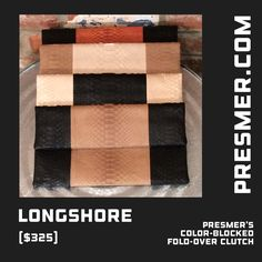 Color-blocked #clutch (shown in 4 #python color combos) from #Presmer  available online at presmer.com