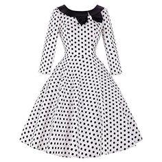 Dresstells® Halter 50s Rockabilly Polka Dots Audrey Dress Retro Cocktail Dress Black XS: Amazon.es: Ropa y accesorios