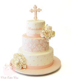 baptism cakes plus best birthday cake plus first communion cakes Bolo Frozen, Baby Christening Cakes, Baptism Cakes, Comunion Cakes, Vintage Baptism, Vintage Girls, First Holy Communion Cake, Pink Cake Box, Religious Cakes
