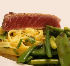 Grilled Tuna Steak with pasta and greens
