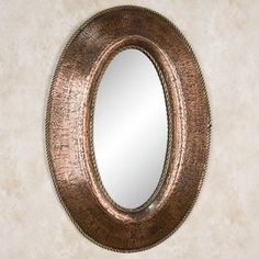 Petite Oval Lightly Hammered Copper Mirror With Brass Accents
