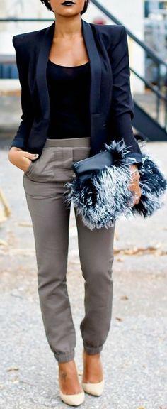 @roressclothes clothing ideas #women fashion gray trousers, blazer