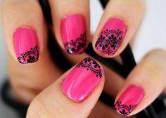 Lace nail art -- normally I don't like nail art, but I love this!