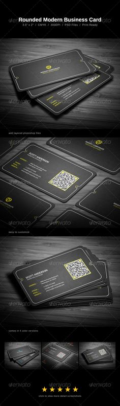 Rounded Modern Business Card - Corporate Business Card Template PSD. Download here: http://graphicriver.net/item/rounded-modern-business-card/2021652?s_rank=266&ref=yinkira