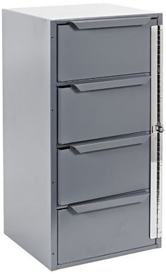 "Durham 610-95 Gray Welded Steel Cabinet, 12-5/8"" Width x 24-1/2"" Height x 12-1/8"" Depth, 4 Drawers by Durham. $196.81. All welded steel construction for strength and durability. Heavy duty steel, interlocked and welded construction. Ideal for storing a wide variety of smaller items. Drawers include high impact plastic inserts. Locking hinge is included and keeps drawers securely in place even in moving vehicles. Ships fully assembled ready for use. Durable gray po..."
