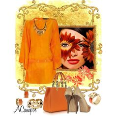 Orange Contest II by anna-campos on Polyvore featuring moda, Versace, Michael Kors and Reyes