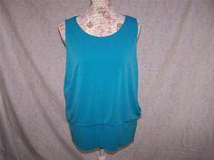 ALFANI Shirt Top L Blue Sleeveless Spandex Stretch Metal Side Zipper Womens NEW #Alfani #KnitTop #Casual