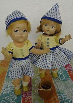 Vintage Vogue Doll Co Pre Ginny Toddles Jack Jill Doll Set 1940 's Strung