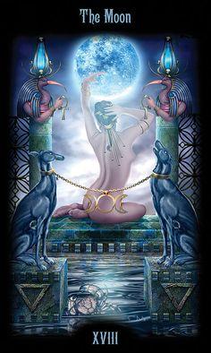 XVIII - The Moon - Legacy of the Divine Tarot by Ciro Marchetti