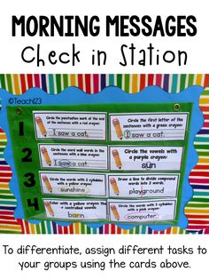 Morning Messages - Use the check in station to differentiate your morning work. There are morning messages for kindergarten, first grade, second grade, and third grade. Classroom management tips, too. link FREE and paid. Classroom Organization, Classroom Management, Classroom Ideas, Morning Meeting Activities, Common Core Curriculum, 2nd Grade Teacher, Beginning Of School, First Grade, Second Grade