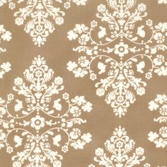 Lily & Will mocha brown damask shabby quilting fabric Bunny Hill Designs baby nursery 1 yd 2802-14. $9.00, via Etsy.