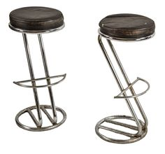 two matching american art deco style vintage polished chrome tubular steel stools designed in the manner of gilbert rohde with curvaceous footrests - Products