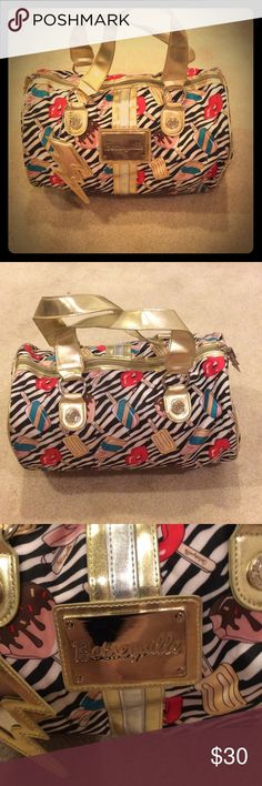 Betsey Johnson Popsicle Print Barrel Handbag Soooo cute! About 13 inches across and 8 inches deep and tall. Worn only twice! Love the purse but it needs some love and to get out of my closet! Betsey Johnson Bags