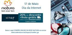 Só hoje, 17/05, no Dia da Internet, todo site da Natura está com 20% de desconto com frete grátis para compras a partir de R$ 99,00! É só usar o cupom DIADAINTERNET na finalização da sua compra! (ATENÇÃO: o desconto não vale para kits presente e embalagens para presente).  A própria Natura entrega o pedido na sua casa em todo Brasil. Pague com boleto bancário ou divida em até 6x s/juros no cartão (parcela mínima de R$ 30,00). #diadosnamorados #diadainternet #presente #oportunidade