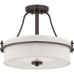 @Overstock.com - Nuvo Loren 2-light Venetian Bronze Semi-flush Fixture - Enhance your d�cor with this indoor, semi-flush light fixture. This two-light fixture features a white linen shade with a distinct design that is sure to draw attention. Its Venetian bronze finish is etched in opal glass, adding to its uniqueness.  http://www.overstock.com/Home-Garden/Nuvo-Loren-2-light-Venetian-Bronze-Semi-flush-Fixture/7080501/product.html?CID=214117 $189.99