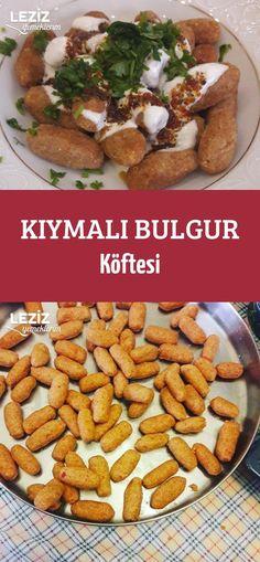 Kıymalı Bulgur Köftesi Turkish Recipes, Mac And Cheese, No Cook Meals, Cake Recipes, Food And Drink, Snacks, Meat, Chicken, Baking