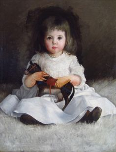 1 of 6 : Style of Cecilia Beaux, American, c.1900, Portrait of Young Girl with Toy Horse L2BDJ