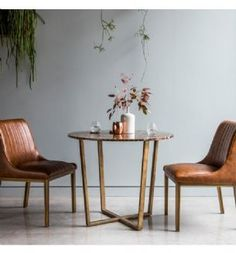 Emphora marble round dining table with metal base - 38535 marble dining table and 6 chairs, modern & contemporary. 2 Seater Dining Table, Marble Top Dining Table, Round Dining Table, Dining Room Table, Table And Chairs, Dining Set, Brown Leather Chairs, Contemporary Dining Table, Contemporary Furniture