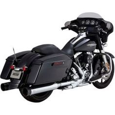 CHROME/BLACK END CAPS OVERSIZED 450 SLIP-ON MUFFLERS 1801-0751 - LCS Motorparts