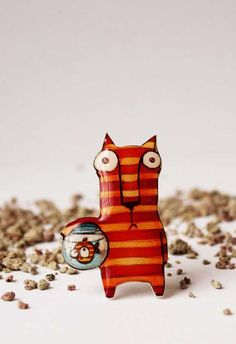 Free shipping Cat brooch pin Cat lover gift animal by Dinabijushop