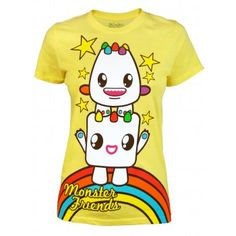 Me wants!!!♡♡♡♡ So So Happy Ladies Monster Friends T Shirt, Yellow  http://www.jukupop.com/womens-c4/t-shirts-c13/so-so-happy-ladies-monster-friends-t-shirt-yellow-p1767