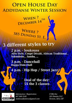 pen classes with ADDYDANSE team! Come and try differents styles before subscribing for a complete session. Dancehall, Hip-hop, Street-Jazz, Soukouss (AfroB