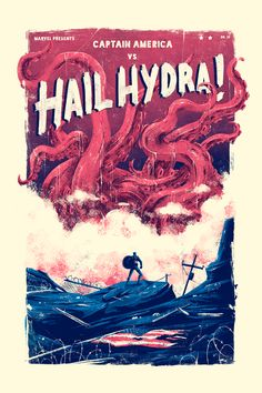 """pixalry: """"Captain America vs Hail Hydra - Created by Marie BergeronPrints available for sale at the Artist's Shop. Poster Marvel, Marvel Movie Posters, Movie Poster Art, Marvel Art, Marvel Movies, Spiderman Poster, Hulk Spiderman, Crane Rouge, Mundo Comic"""