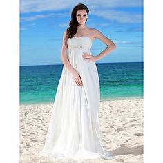 Light in the Box Sheath/Column Strapless Empire Waist Floor-length Chiffon Wedding Dress  - USD $ 149.99