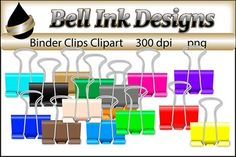 Colourful bulldog clips! There are 15 color images in this file:All images are 300 dpi and in png…