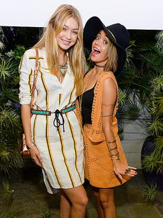 These Party-Happy Stars Will Give You Serious Coachella FOMO | GIRLS JUST WANNA HAVE FUN | Gigi Hadid and Sarah Hyland have a ball while posing for photos at Friday's H&M Loves Coachella event at the Parker Palm Springs.
