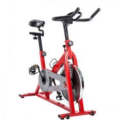Sunny Health and Fitness Indoor Cycling Bike, Red