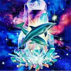 Visionary painting-Crystal Dolphins-dolphins in space crystal cluster Orcas, Art Visionnaire, Dolphins Tattoo, Dolphin Art, Visionary Art, Ocean Life, Marine Life, Sea Creatures, Spirit Animal