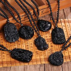 kokoer Unique Black Obsidian Carved Buddha Lucky Amulet Pendant Necklace For Women Men Buddha Necklace Pendants Stone Jewelry Green Necklace, Pendant Necklace, Guanyin, Stone Jewelry, Men's Jewelry, Necklace Types, Artisanal, Stone Pendants, Fashion Necklace