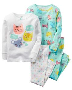 Carters Baby Girls 4 Pc Cotton Sleepy Cats Mint 6 Months >>> Take a look at the picture by checking out the web link. (This is an affiliate link). Cute Baby Girl Outfits, Toddler Girl Outfits, Cute Baby Clothes, Kids Outfits, Toddler Girls, Baby Girl Pajamas, Carters Baby Girl, Kids Nightwear, Girls Sleepwear