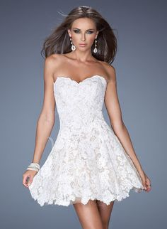 Wedding Dresses - $126.34 - A-Line/Princess Strapless Sweetheart Short/Mini Lace Wedding Dress (0025059509)