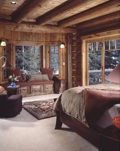 Warm and cozy cabin bedroom! Love this cabin style decor! Log home bedroom, Log Rustic Bedroom Design, Rustic Master Bedroom, Bedroom Designs, Bedroom Ideas, Rustic Design, Bedroom Decor, Rustic Bedrooms, Master Bedrooms, Bedding Decor